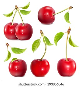 Big collection of photo-realistic vector illustration of ripe red cherries.
