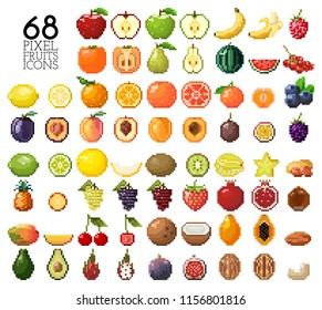 Big collection of pixel fruits, berries and nuts. Old style 8 bit icons. Apple, banana, cherry, lemon, mango, kiwi and other isolated on white background. Healthy food. Fresh and tasty exotic fruits