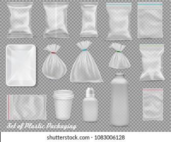 Big collection of polypropylene plastic packaging - sacks, tray, cup, bottle on transparent background. Vector illustration