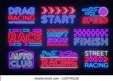 Big collection Racing neon sign vector design template. Street Racing neon text, light banner design element colorful modern design trend, night bright advertising, bright sign. Vector illustration