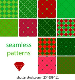 Big collection of red and green  holiday seamless patterns with circles and embroidered with diamonds for christmas and new year