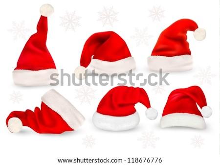 7eea22bd478d1 Big Collection Red Santa Hats Vector Stock Vector (Royalty Free ...