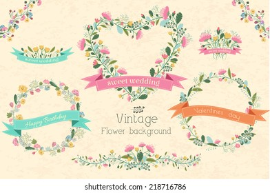 big collection set of circle shape and heart frame flower with ribbon invitation for greeting card. Vector illustration concept design