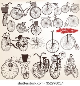 Big collection or set of vector hand drawn bicycles for design