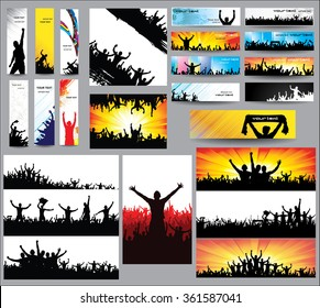 Big collection of silhouettes.And advertising banner for sports championships and concerts.