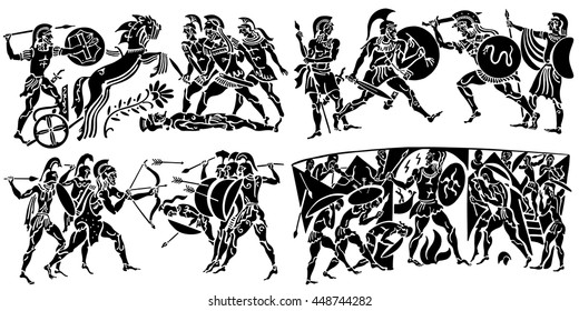 Big collection of silhouettes of Greeks on a white background. Episodes from the epic scenes of battle, conquest, military events.