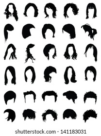 Big collection of silhouettes of hairstyles-vector