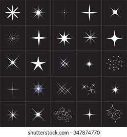 Big collection of sparkle vector. Sparkles white symbols. Sparkle star. Symbols sparkling stars. Set of sparkles star. Sparkles icon. Sparkles set. Sparkle light. Sparkling stars. Easy to use.