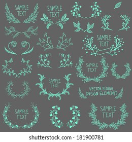 Big collection of symmetrical floral graphic design elements