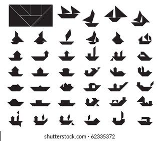 Big Collection of Tangram Boat and Ship Silhouettes