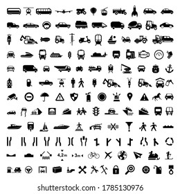 Big collection of transport and road sign icons. High quality pictograms for web design. Flat vector illustration