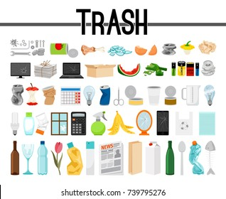 Big collection of trash and garbage, vector illustration