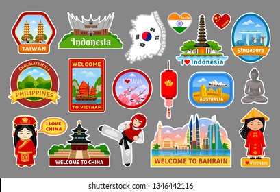 Big collection of travel stickers, symbols, landmarks of the Asia. Taiwan, Vietnam, China, Japan, Korea, Australia, Indonesia, Singapore, Philippines, Bahrain, India. Vector illustration set.