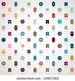 Big collection of various emblems. Vector set