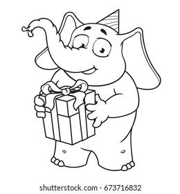 Big collection vector cartoon characters of elephants on an isolated background. Holds a gift, congratulates