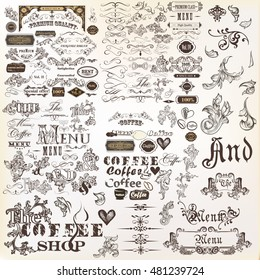Big collection of vector decorative elements flourishes, swirls, frames, borders, ornaments and other in vintage style. Mega set