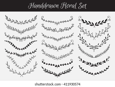 Big collection of Vector Floral borders isolated on white background. Sketch frames, hand-drawn with ink. Spring floral collection