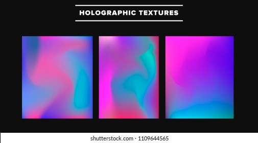 Big collection of vector holographic textures. Vaporwave style.