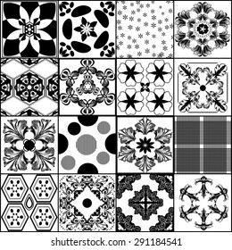 Big collection from vector patterns in retro style
