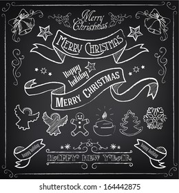 Big collection of vintage elements. Christmas set. Chalking, freehand drawing