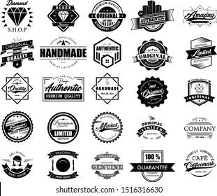 Big Collection of Vintage Logo Badges Vector Set Design