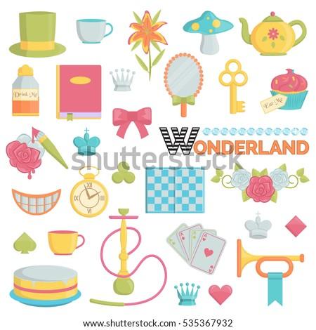 Big Collection Wonderland Through Looking Glass Vector de stock ...