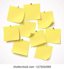 Big collection yellow sticker pinned pushbutton with curled corner, randomly scattered, ready for your message. Vector illustration. Isolated on white background. Front view. Top view. Close up. Set