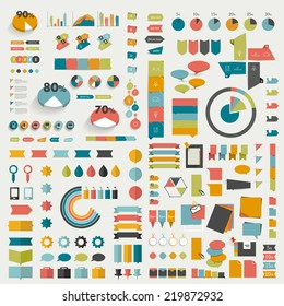 Big collections of info graphics flat design diagrams. Various color schemes, boxes, speech bubbles, charts and stickers. Vector illustration.