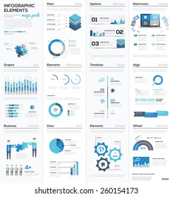 Big colletion of blue infographic business vector elements EPS10. Modern graphics for corporate brochures, website, magazines and many other publications.