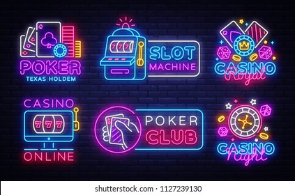 Big colletion neon sign. Casino logos and emblems. Casino Design template neon sign, Slot Machine light banner, Poker neon signboard, modern trend design, nightly bright advertising. Vector