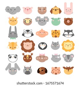 Big color set of 30 animals and birds faces silhouettes isolated on white for stickers, cards, labels and tags. Minimal style, mouse, rabbit, owl, koala, bear, raccoon, tiger, frog, etc