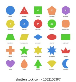 Big color set vector basic 2d shapes. Circle, triangle, square, pentagon, hexagon, superellipse, trapezium, rhombus, ellipse, cross, pentagram, hexagram, crown, heart, drop, arrow, diamond, crescent.