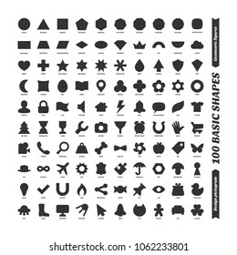 Big color vector black basic shapes set. Kids geometric figures school collection. Simple isolated design pictogram. Printable version.