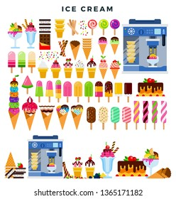 Big colorful Ice cream collection. Various types and forms of ice cream, on a stick, in a cone, fruit, cream, with chocolate, syrup, etc. Ice cream making. Vector illustration.