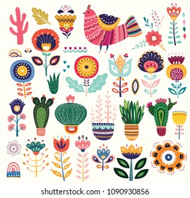 Big colorful vector collection with flowers, cacti, bird and ethnic design elements