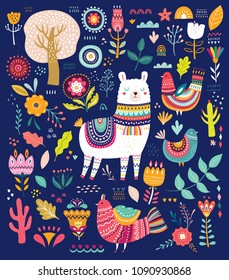 Big colorful vector set with llama, flowers, birds and ethnic design elements