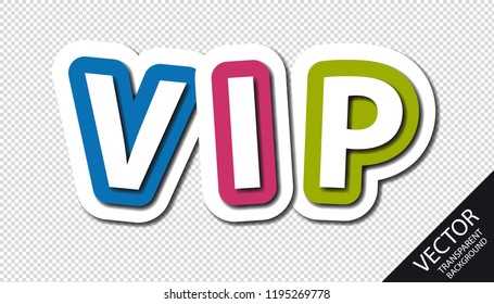 Big Colorful VIP Letters With Shadows - Vector Illustration - Isolated On Transparent Background