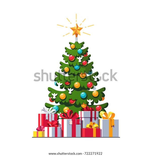 Big colorful wrapped gift boxes pile with ribbon bows lying under Christmas tree. Lots of winter holiday presents. Congratulation card template. Flat vector illustration isolated on white background.