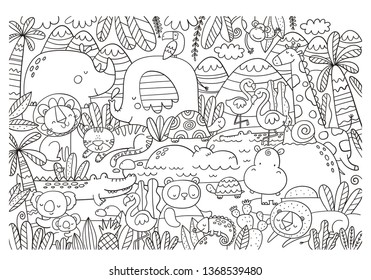 Big coloring Christmas page with African animals, tiger, elephant, koala, crocodile, lion, flamingo