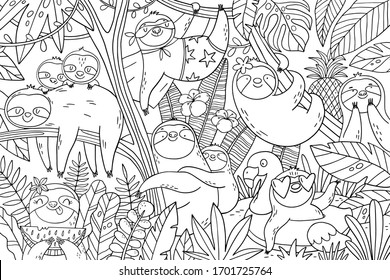 Big coloring page with cute sloths in the tropical leaves. Mom and baby sloth on summer vacation. Big coloring poster for kids.