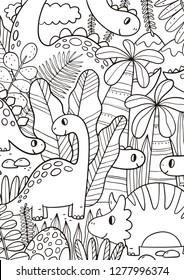 Big coloring poster with hand drawn dinosaur. Dinosaur coloring page