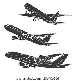 Big Commercial airplanes. Vector illustration.