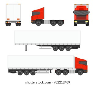 Big commercial semi truck with trailer set. View from side, front, back. Vector illustration.
