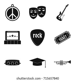 Big concert icons set. Simple set of 9 big concert vector icons for web isolated on white background