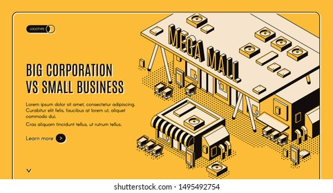 Big corporation vs small business isometric web banner, huge mega mall building stand nearby of little private store, corporate competition and domination concept, 3d vector landing page, line art