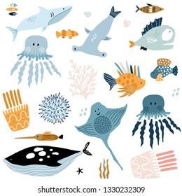 Big creative nautical clipart with marine inhabitants. Jellyfish, octopus, shark, killer whale, fish hummer, fish hedgehog. Vector illustration