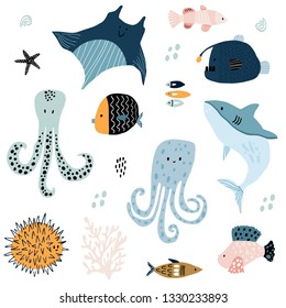 Big creative nautical clipart with marine inhabitants. Jellyfish, octopus, shark, killer whale, fish hummer, fish hedgehog. Vector illustration