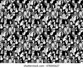 Big crowd happy people black and white seamless pattern. Monochrome vector illustration. EPS8