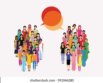Big crowd of  Indian woman representing different states, religions of India. Vector flat illustration of a crowd of women from diverse ethnic backgrounds with a dialogue vector