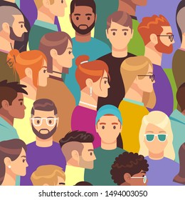 Big crowd pattern. Seamless texture of different people group, male and female with various hairstyles, profile heads vector creative portrait avatar wallpaper concept
